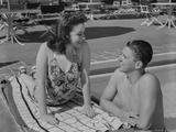 Ronald Reagan Talking to a Sunbathing Woman