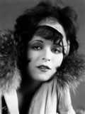 Clara Bow Posed in Furry Shawl with Headband