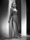 Lizabeth Scott Posed in Long Sparkling Dress