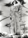 Dolores Del Rio Posed wearing Furry Dress