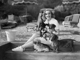 Carole Lombard with Dogs in Classic Portrait
