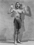 Johnny Weissmuller Portrait in Tarzan Outfit