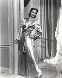 Loretta Young Shiny Silver Satin Long Dress
