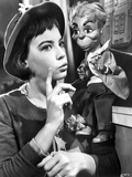 Leslie Caron Pose with a Puppet wearing a Hat