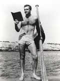 Sean Connery Reading on Raft in Black and White