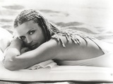 Bo Derek at Beach in Bikini Black and White
