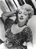 Lana Turner Posed on Couch Black and White