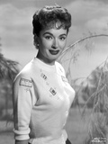Ann Blyth on a Knitted Top and smiling