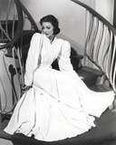 Loretta Young Old White Long Sleeve Dress