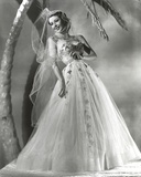 Loretta Young White Long Wedding Dress