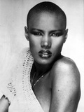 Portrait of Grace Jones in Red lipstick