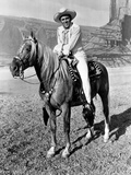 Howard Keel Riding Horse in White Outfit