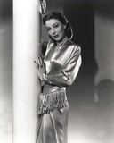 Loretta Young Shiny Silver Satin Dress