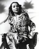 Dolores Del Rio Seated in Printed Dress