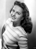 Martha Hyer on Printed Top and smiling