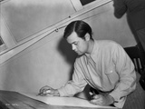 Orson Welles Writing in Black and White
