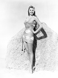Esther Williams smiling in Floral Dress