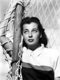 Gail Russell Leaning on Soccer Goal