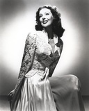 Loretta Young Long White Dress Pose