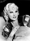 Mae West smiling in Black and White
