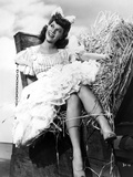 Dinah Shore Seated in Black and White