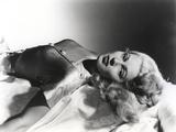 Lana Turner Lying Down in Black Dress