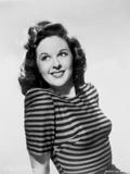 Susan Hayward Posed in a Stripe Shirt