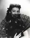 Loretta Young Lady Hiding Black Fan