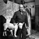 George Scott in Black Suit With Dog