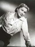 Joan Fontaine Looking Up and Leaning