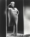 Lana Turner Pose in White Long Gown