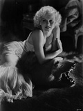 Jean Harlow Posed in White Dress
