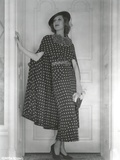 Loretta Young Long Dress Polkadot