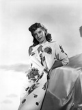 Dinah Shore Posed in Floral Dress