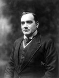 Enrico Caruso Posed in Black Suit