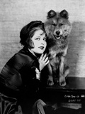 Clara Bow Posed with Dog