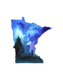 Minnesota State Watercolor Reproduction d'art par Jessica Durrant