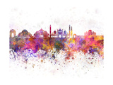 Delhi Skyline in Watercolor Background