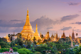 Yangon  Myanmar View of Shwedagon Pagoda at Dusk