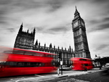 London  the Uk Red Buses in Motion and Big Ben  the Palace of Westminster the Icons of England In