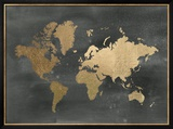 Gold Foil World Map on Black