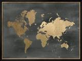 Gold Foil World Map on Black