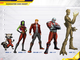 Guardians of The Galaxy Size Chart Featuring Vision  Iron Man  Falcon Cap and More
