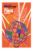 1964 New York World's Fair - Fly TWA Jets (Trans World Airlines) - Unisphere Globe