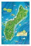 Map of Guam, USA - Where America's Day Begins Reproduction d'art par Alec Baird