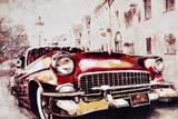 Vintage Car in Red
