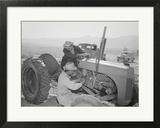 Tractor Repair: Driver Benji Iguchi  Mechanic Henry Hanawa  Manzanar Relocation Center  California