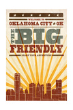 Oklahoma City  Oklahoma - Skyline and Sunburst Screenprint Style