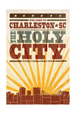 Charleston  South Carolina - Skyline and Sunburst Screenprint Style