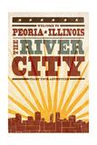 Peoria  Illinois - Skyline and Sunburst Screenprint Style